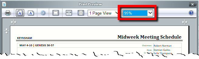 Print Preview Toolbar